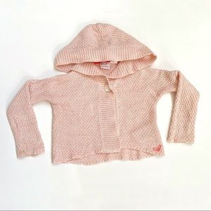 Roxy girls pink knit button up hoodie sweater